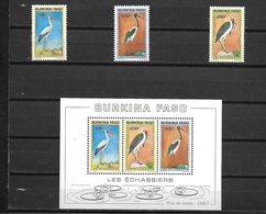 BURKINA FASO POSTE 868/870 + BLOC 43 OISEAUX ECHASSIERS  MNH NEUF SANS CHARNIERE - Burkina Faso (1984-...)
