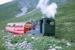ReproductionPhotographie D'un Train Et Wagon Panoramique à Crémaillère BRB 2 Brienz Rothorn Bahn En Suisse 1972 - Riproduzioni