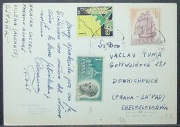 Spain - Postcard To Czechoslovakia 1965 Statistics Ship Pope - 1931-Heute: 2. Rep. - ... Juan Carlos I