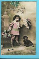 FANTAISIE---HEUREUSE ANNEE-----( Fillette + Fleurs + Chien )---voir 2 Scans - Neujahr