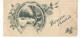 CPSM, Mignonnette , Bonne Année , Fer A Cheval, Paysage Neige , Roses Ed. 1936 - Neujahr