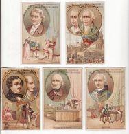 Chromo  CHICOREE CASIEZ BOURGEOIS     Lot De 5    Hommes Célèbres     10.5 X 6.8 Cm - Trade Cards