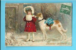 FANTAISIE---BONNE ANNEE---( Fillette + Fleurs + Chien Sous La Neige )-illustration ?---voir 2 Scans - Neujahr