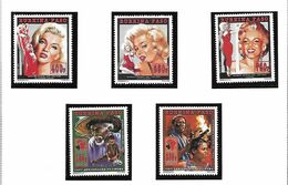 BURKINA FASO POSTE 921/928 + BLOCS 48+49 MONROE CINEMA PRESLEY MNH NEUF SANS CHARNIERE - Burkina Faso (1984-...)