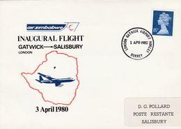 Inagurural Flight  Air Zimbabwe, LONDON GATWICK AIRPORT HORLEY SURREY 3 APR 1980 > SALISBURY 8 APR 1980 - 1952-.... (Elizabeth II)