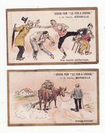Chromo  SAVON FER A CHEVAL    Lot De 2     Boxe, Boxeur, Vache, Arrosage     10.5 X 6.5 Cm - Trade Cards
