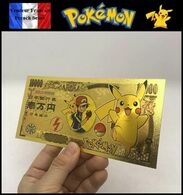 1 Billet Plaqué OR + 1 Certificat ! ( GOLD Plated Banknote ) - Pokémon Pikachu - Specimen
