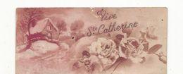 CPA, Mignonnette , Vive La Sainte Catherine , Paysage Neige Et Roses - St. Catherine