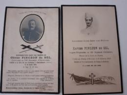 Faire Part Deces  Pinczon Du Sel Capitaine 109 Ri Tué 1914  Et Sergent 130 Ri Tué En 1918, Poilus Mort Pour La France - Décès