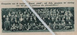 """ZELE..1935.. GROEPSFOTO VAN DE FANFARE """" KUNST ADELT """" VAN HUN GOUDEN JUBILEUM - Old Paper"""