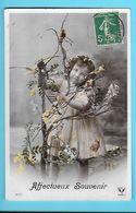 FANTAISIE---AFFECTUEUX SOUVENIR-----( Fillette + Fleurs + Oiseaux )---voir 2 Scans - Feiern & Feste