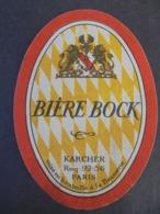 ETIQUETTE BIERE - BIERE BOCK , KARCHER - PARIS - ETAT MOYEN, VOIR SCAN - Bier