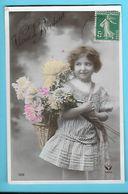 FANTAISIE---VOEUX DE BONHEUR----( Fillette + Fleurs )---voir 2 Scans - Feiern & Feste