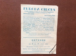 PROGRAMME CIRQUE  EUROPA CIRCUS   Plaine Ernest Feys  OSTENDE  Belgique  ANNEE 1962 - Programs