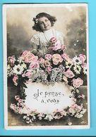 FANTAISIE---JE PENSE A VOUS---( Fillette + Fleurs )---voir 2 Scans - Feiern & Feste