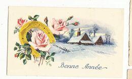 CPSM, Mignonnette , Bonne  Année , Paysage Sous La Neige, Rose , Ed. 1962 - Neujahr