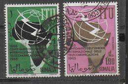 SOMALIA - 1965 - CENTENARIO ITU - SERIE 2 VAL. USATA ( YVERT AV 34/35 - MICHEL 72/73) - Somalia (1960-...)