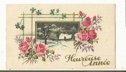 CPAA, Mignonnette , Heureuse  Année , Paysage Sous La Neige, Rose , Ed. 1939 - Neujahr