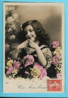 FANTAISIE--UN BON BAISES--( Fillette + Fleurs )---voir 2 Scans - Feiern & Feste