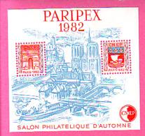 BLOC CNEP 1982 N° 03A ** SALON PHILATELIQUE D'AUTOMNE PARIPEX 1982 SANS PONT A COTE SACRE COEUR N°3 - CNEP