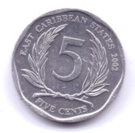 EAST CARIBBEAN STATES 2002: 5 Cents, KM 36 - Caraibi Orientali (Stati Dei)