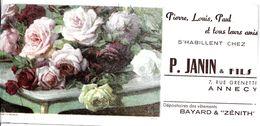BUVARD BLOTTING PAPER COMMERCE VÊTEMENTS ENFANTS P. JANIN ANNECY BOUQUET ROSES - Vestiario & Tessile