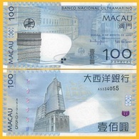 Macau Macao 100 Patacas P-82 2010 BNU Banco Nacional Ultramarino UNC Banknote - Macao