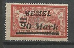 MEMEL N° 90 Variétée 2mm 7 Entre 20 Et MARK NEUF* Trace De CHARNIERE  / MH - Memel (1920-1924)