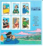 LES VOYAGES DE TINTIN - TINTIN / HERGE( BLOC 6 TIMBRES ) - France