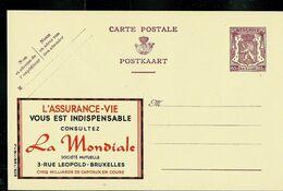 Publibel Neuve N° 629  ( Assurance-vie : LA MONDIALE ) - Entiers Postaux