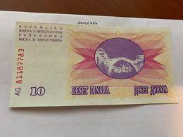 Bosnia 10 Dinara Uncirc. Banknote 1992 #2 - Bosnië En Herzegovina