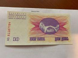 Bosnia 10 Dinara Uncirc. Banknote 1992 #3 - Bosnië En Herzegovina