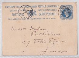 COONOR Via Bombay To London British India Raj Queen Victoria Blue Postal Stationery Entier Postal Inde Britannique 1888 - India (...-1947)