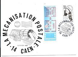 14 CAEN > GUICHET G1 > Expo Philatélique 10/11/1985 Sur Lettre La MÉCANISATION  DAGUIN - VENTE DIRECTE X - 1985 Papier «Carrier»