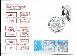 14 CAEN > GUICHET G1 > Expo Philatélique 10/11/1985 Sur Lettre Avec Empreintes LISIEUX Et MÉZIDON - 1985 «Carrier» Paper