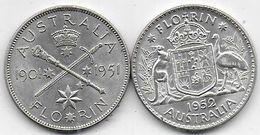 AUSTRALIE - 2 Pièces De 1 Florin  1951 Et 1952 - Pre-decimale Munt (1910-1965)