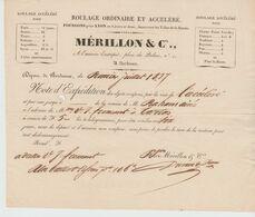 BORDEAUX: MERILLON & Cie, Roulage Ordinaire & Accéléré, Pl Du Palais / L.V De 1837  > Tartas - Transporte