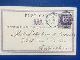 GB Victoria Pre-paid Card 1877 Rotherham Duplex Internal - 1840-1901 (Regina Victoria)