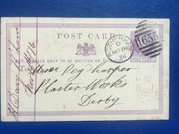 GB Victoria Pre-paid Card 1874 Rotherham Duplex To Derby - 1840-1901 (Regina Victoria)
