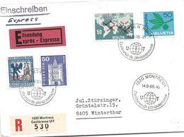 """206 - 36 - Enveloppe Exprès Recommandée Avec Olit Spéciale """"Conférence De Plénipotentiaires Montreux 1965"""" - Marcophilie"""