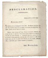 EMPIRE: Proclamation Signé Napoléon  Donauwerth Le 17 Avril1809 - Historical Documents