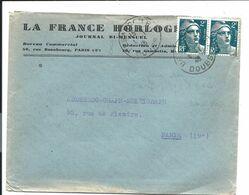 TARIF à 4F - 2x2F Gandon Sur Lettre Du 06/01/1946 ( Besançon Doubs 1er Jour Du Tarif 20 à 50g) - France