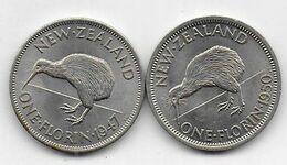 Nouvelle Zélande - 2 Pièces De 1 Florin  1947 Et 1950 - New Zealand