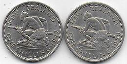 Nouvelle Zélande - 2 Pièces De 1 Shilling  1947 Et 1950 - New Zealand
