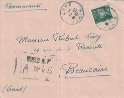 GARD - NIMES - RECOMMANDE PROVISOIRE DU 25-1-1944 - AFFRANCHISSEMENT 4F50 PETAIN SEUL SUR LETTRE POUR BEAUCAIRE. - Marcofilia (sobres)