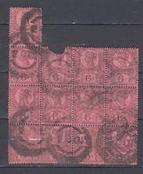 Gran Bretagna 1887 Blocco Di 13 Pezzi Regina Victoria Del 6 P Violetto Su Rosso Usati - Usados