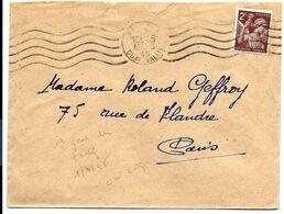 TARIF à 2F - Iris Brun Seul Sur Lettre De Mars 1945 - France