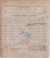VP11/ Facture Clement Helin Manage Gros & Détail 16/10/1899 - Food
