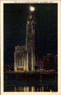 Ohio Columbus American Insurance Union Citadel At Night Curteich - Columbus