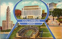 Ohio Columbus Greetings Showing State Office Building O S U Stadium McKinley Memorial & More Curteich - Columbus